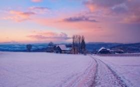 Картинка зима, снег, рассвет, деревня