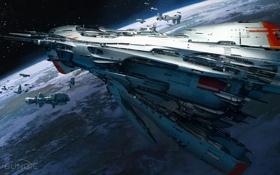 Картинка космос, планета, корабли, Destiny