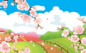 Обои детское, мульты, дорога, весна, сакура, облака