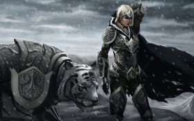Картинка холод, белый, девушка, снег, тигр, ветер, арт