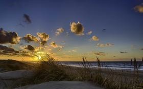 Картинка песок, море, волны, пляж, небо, солнце, облака