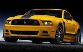 Обои желтый, полосы, фары, mustang, мустанг, ford, мускул кар