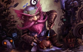 Обои арт, борода, World of Warcraft, механизмы, отвертка, Engineer, ремон