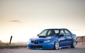 Картинка дорога, синий, Subaru, wrx, impreza, sti