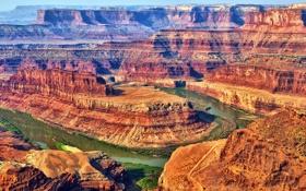 Обои закат, горы, река, скалы, каньон