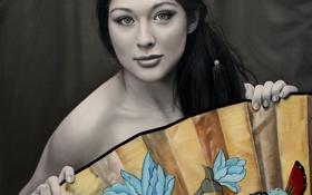 Картинка взгляд, девушка, веер, азиатка, Christiane Vleugels