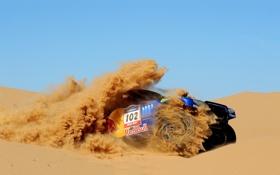 Обои Песок, Фото, Авто, Volkswagen, Пустыня, Touareg, Rally