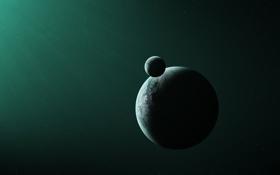 Обои звезды, пространство, планета, спутник, бесконечность