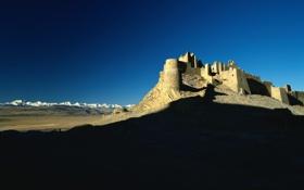Картинка небо, свет, горы, замок, холмы, пустыня, тень