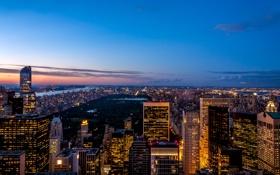 Обои вечер, the Rockefeller Center, огни, sunset, город, Нью-Йорк, парк