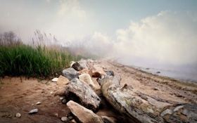 Картинка пейзаж, природа, туман, озеро, утро