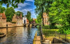 Обои зелень, деревья, мост, дома, обработка, канал, Бельгия