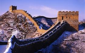 Обои снег, стена, великая, китайская