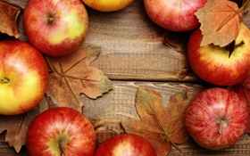 Обои яблоки, фрукты, листики, leaves, fruits, apples