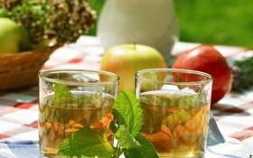 Картинка чай, яблоки, стаканы, напиток, мята