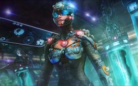 Обои фантастика, женщина, костюм, шлем, лаборатория, art