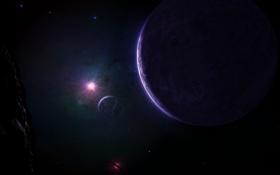 Обои звезды, спутник, астероид, свет, планеты, мрак