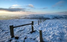Картинка зима, поле, пейзаж, забор