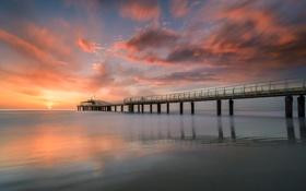 Обои sunset, cloud, ocean, wave, pier