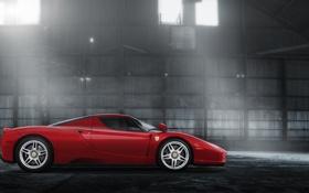 Обои красный, блики, ангар, Ferrari, red, феррари, Enzo