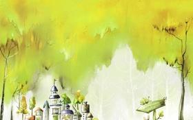 Обои деревья, бабочки, арт, указатель, домики, зверёк