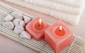Обои полотенце, свечи, Spa, спа, candles, towel, спа камни