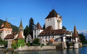 Обои вода, небо., замок, Obrhofen, архитектура, Castles, природа