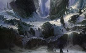 Обои снег, горы, скалы, доспехи, арт, поход, копья