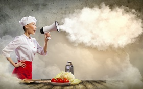 Обои девушка, креатив, кухня, повар, помидоры, капуста, готовка