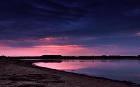 Обои небо, вода, пейзаж, закат, природа, река, берег