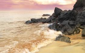 Картинка камни, скалы, небо, рассвет, волны, море, песок