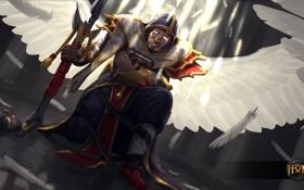 Обои крылья, ангел, меч, рыцарь, heroes of newerth, Martyr, Combat Medic Martyr
