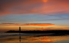 Картинка море, маяк, Закат, вечер