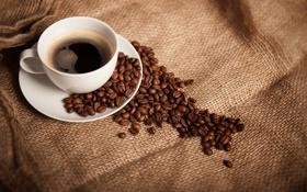 Картинка кофе, зерна, чашка, белая, блюдце