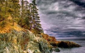 Обои камни, скалы, небо, лес, море, природа, hdr