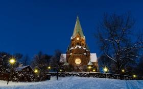 Картинка зима, снег, деревья, вечер, церковь, Стокгольм, Швеция