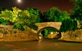 Обои деревья, ночь, мост, парк