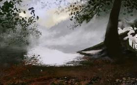Обои осень, деревья, природа, туман, озеро, арт