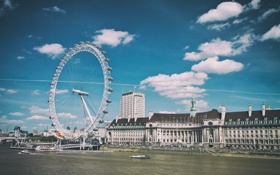 Обои England, Темза, Лондон, чертово колесо, London, River, Thames