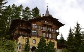Обои деревья, дизайн, дом, Швейцария, St. Moritz