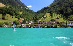Картинка вода, дома., деревья, sities, Switzerland, горы, Seelizberg