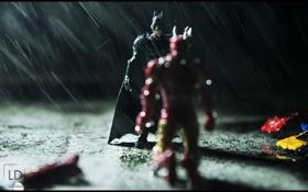 Обои мокрый, Batman, photographer, Iron Man, Marvel, комедия, Человек Утюг
