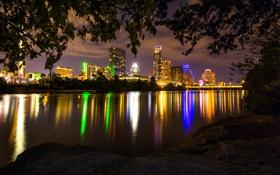 Картинка ночь, город, река, фото, небоскребы, США, Austin
