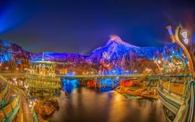 Картинка ночь, огни, техно, гора, Япония, Токио, лагуна