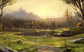 Обои поле, пейзаж, дома, храм, речка, Арт