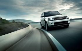 Картинка дорога, небо, Спорт, джип, Land Rover, Range Rover, передок