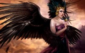 Картинка небо, облака, птица, ангел, перья, платье, арт