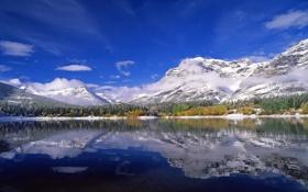 Картинка горы, лес, снег, Канада, озеро