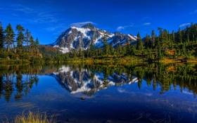 Обои деревья, горы, озеро, отражение