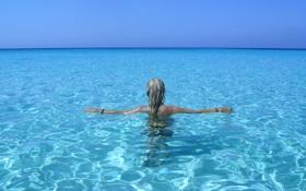 Картинка море, лето, девушка, волосы
